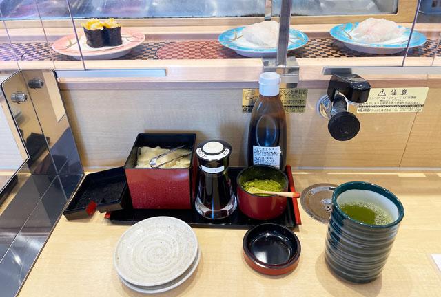 富山県氷見市の回転寿司「氷見すしのや」のテーブルセット