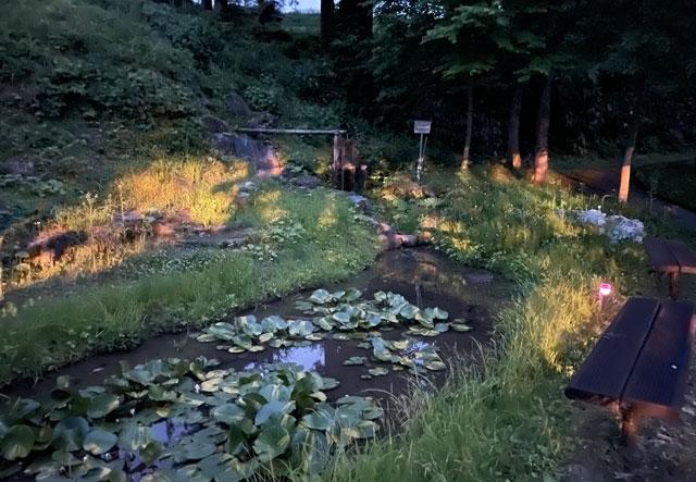 仁歩ほたるの里 農村公園の水車と池