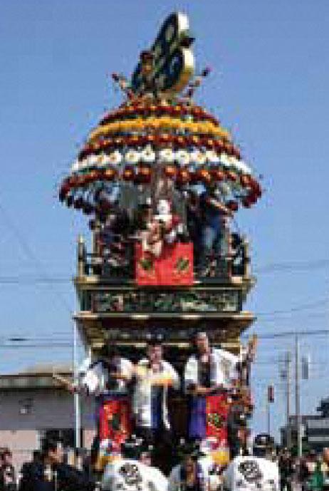 海老江の曳山祭りの東町の山車