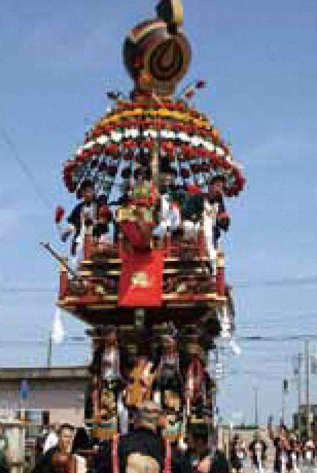 海老江の曳山祭りの西町の山車