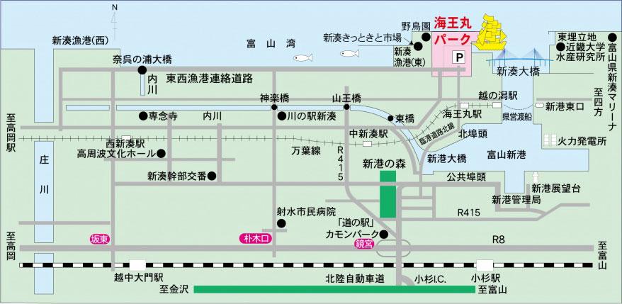 海王丸パークのアクセスと駐車場マップ