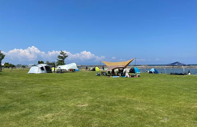 富山県射水市の海老江海浜公園の芝生広場