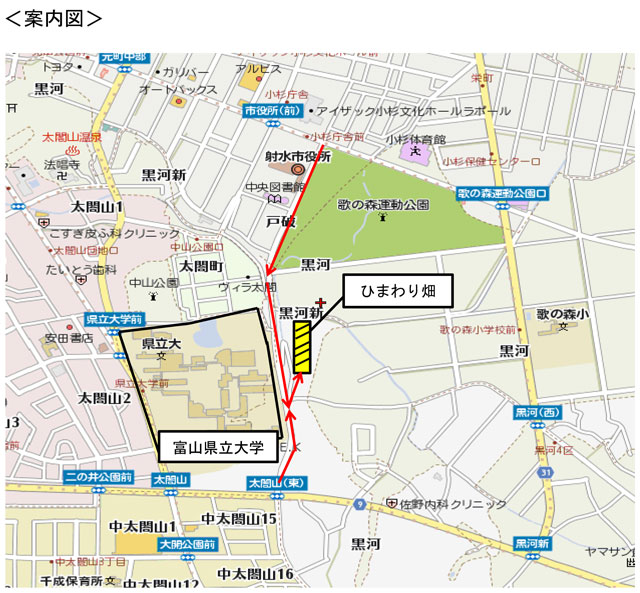 富山県射水市「富山県立大学」のひまわり迷路の場所地図