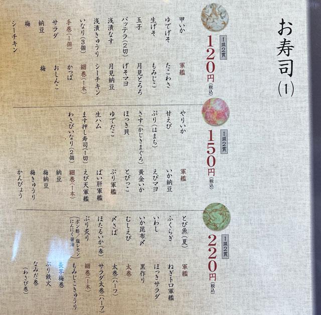 富山県の回転寿司「祭ばやし」の握り寿司メニュー1