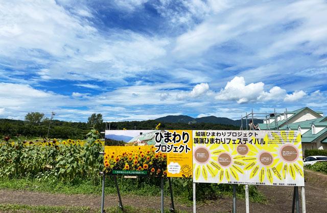 富山県南砺市桜ヶ池クアガーデンのひまわりプロジェクトの看板